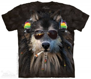 Smoking Rasta Wolf - wilk z jointem - koszulka unisex The Mountain