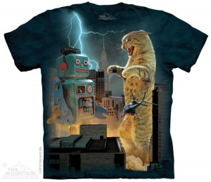 Catzilla vs Robot - kot - koszulka unisex The Mountain