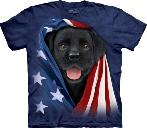 Patriotic Black Lab Pup - pies - koszulka unisex The Mountain