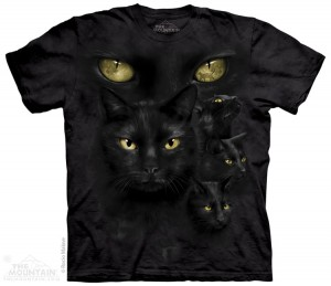 Black Cat Moon Eyes - czarny kot - koszulka unisex The Mountain