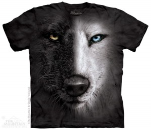 Black And White Wolf Face - wilk - koszulka unisex The Mountain