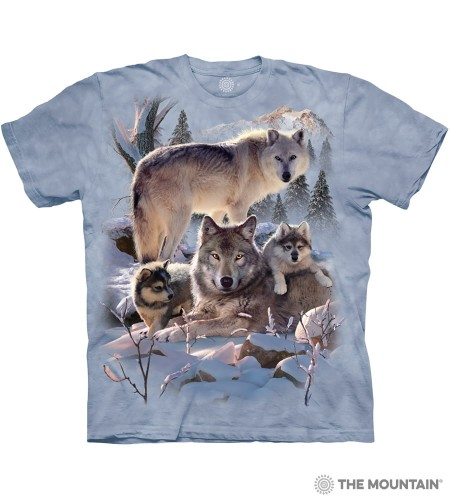 Wolf Family Mountain - wilki - koszulka unisex The Mountain