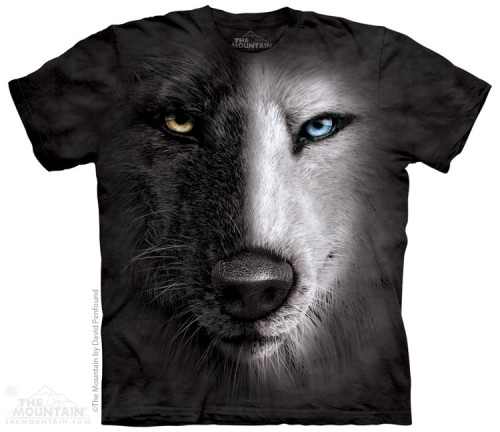 Black And White Wolf Face - koszulka The Mountain